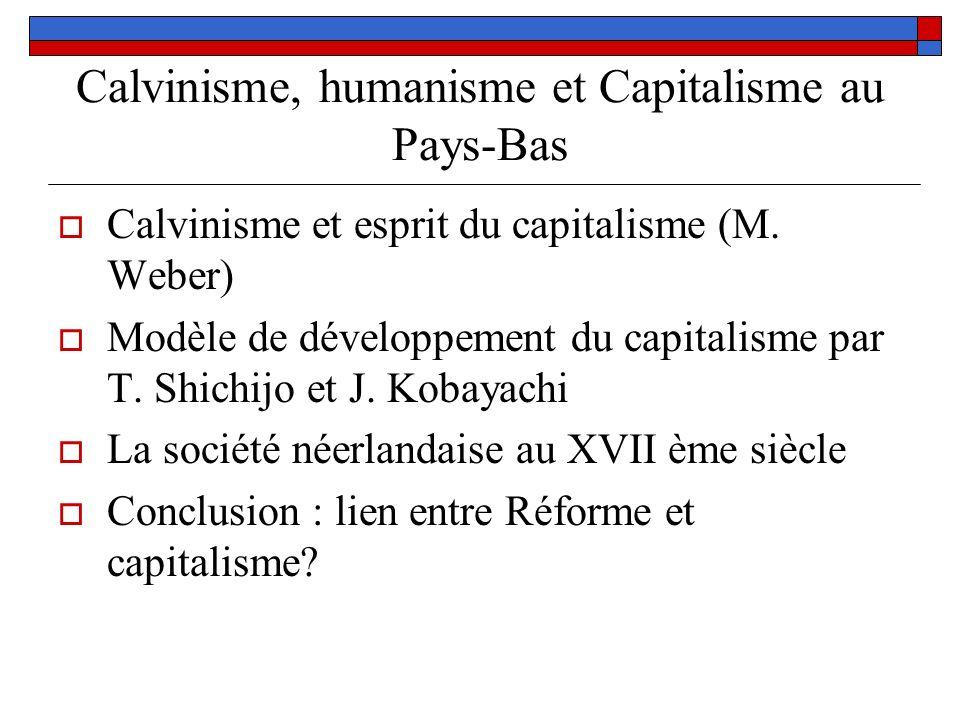 Calvinisme, humanisme et Capitalisme au Pays-Bas