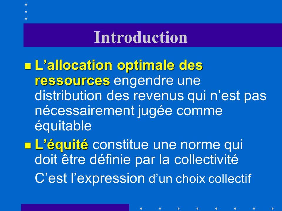 Introduction L'allocation optimale des ressources engendre une distribution des revenus qui n'est pas nécessairement jugée comme équitable.