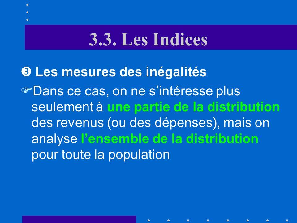 3.3. Les Indices Les mesures des inégalités