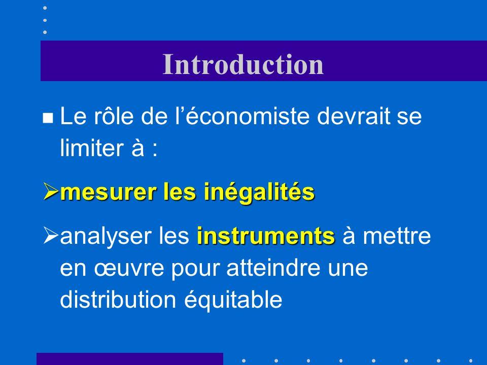 Introduction Le rôle de l'économiste devrait se limiter à :