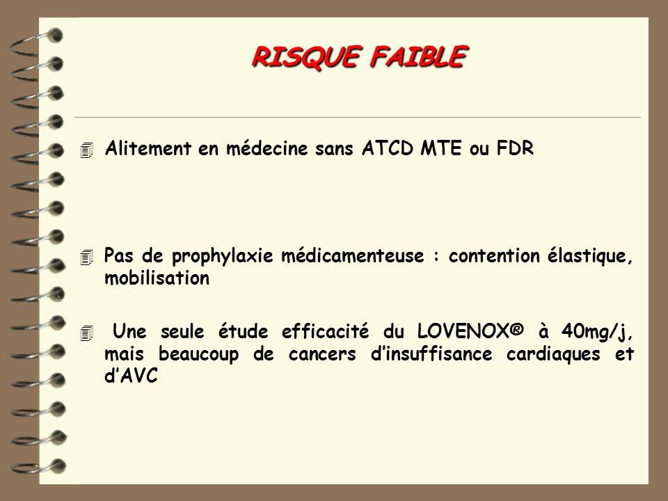 RISQUE FAIBLE Alitement en médecine sans ATCD MTE ou FDR