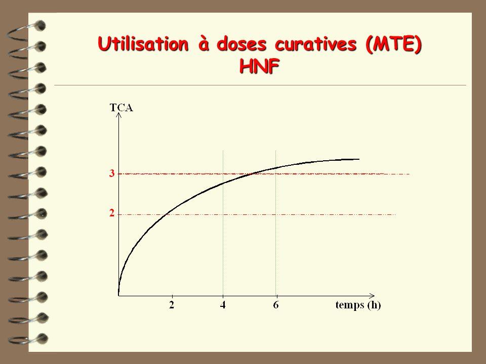 Utilisation à doses curatives (MTE) HNF