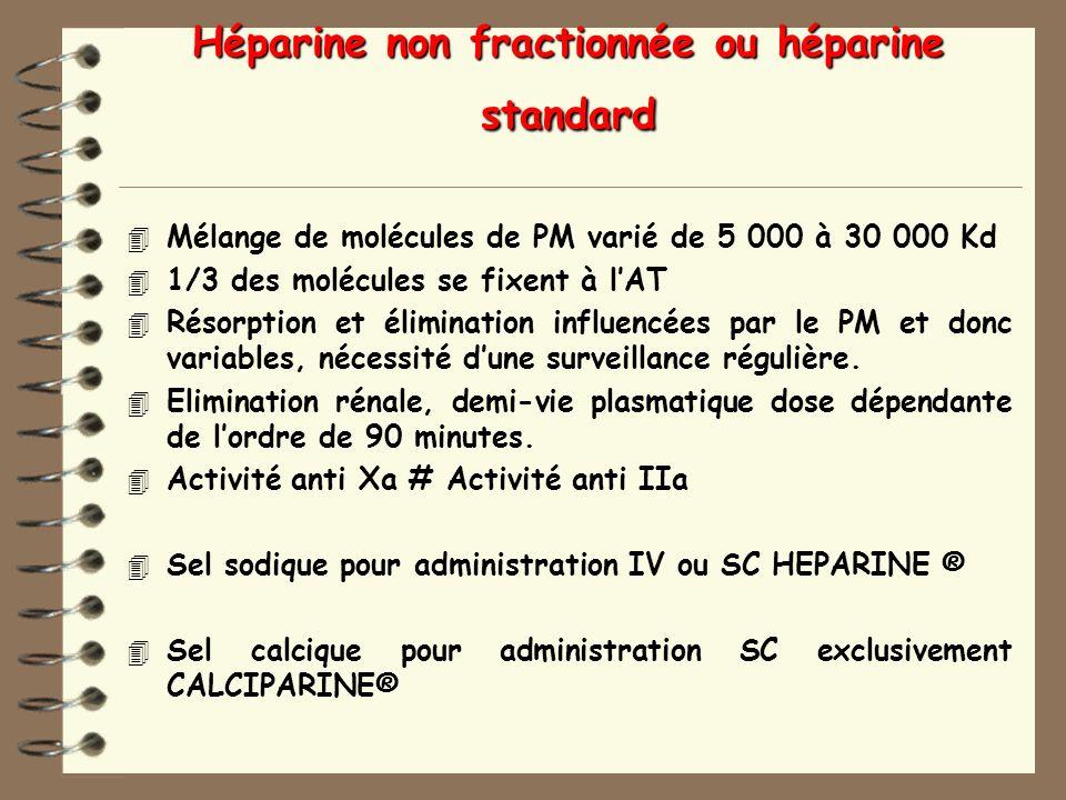 Héparine non fractionnée ou héparine standard