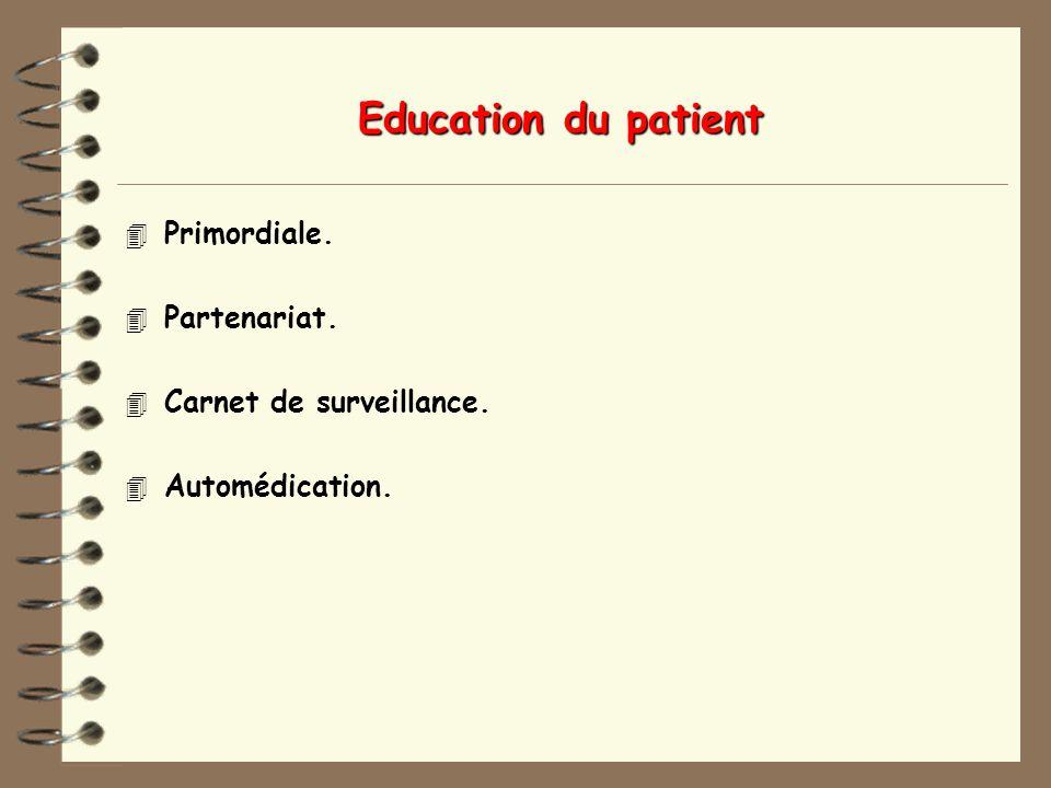 Education du patient Primordiale. Partenariat. Carnet de surveillance.