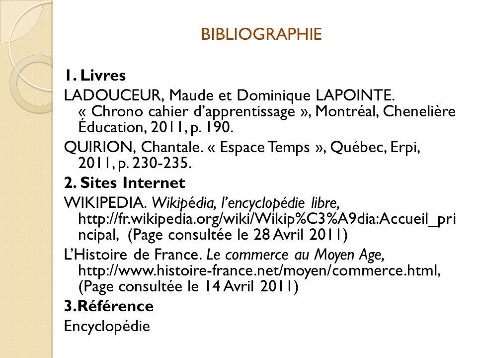 BIBLIOGRAPHIE 1. Livres. LADOUCEUR, Maude et Dominique LAPOINTE. « Chrono cahier d'apprentissage », Montréal, Chenelière Éducation, 2011, p. 190.