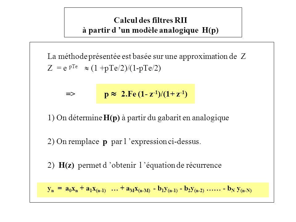 Calcul des filtres RII à partir d 'un modèle analogique H(p)