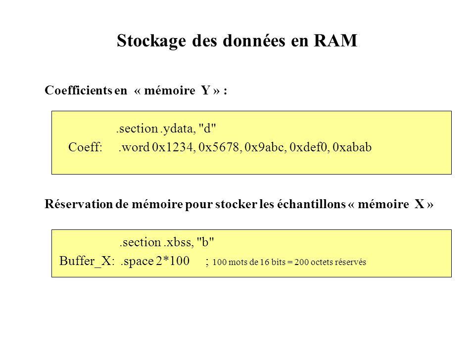 Stockage des données en RAM