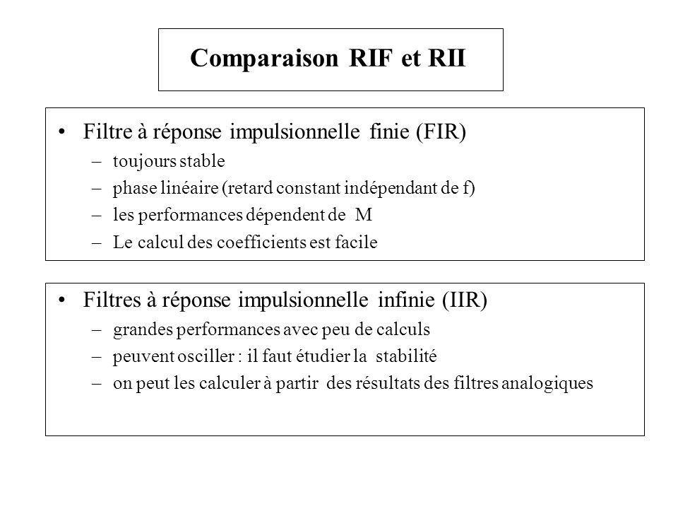 Comparaison RIF et RII Filtre à réponse impulsionnelle finie (FIR)
