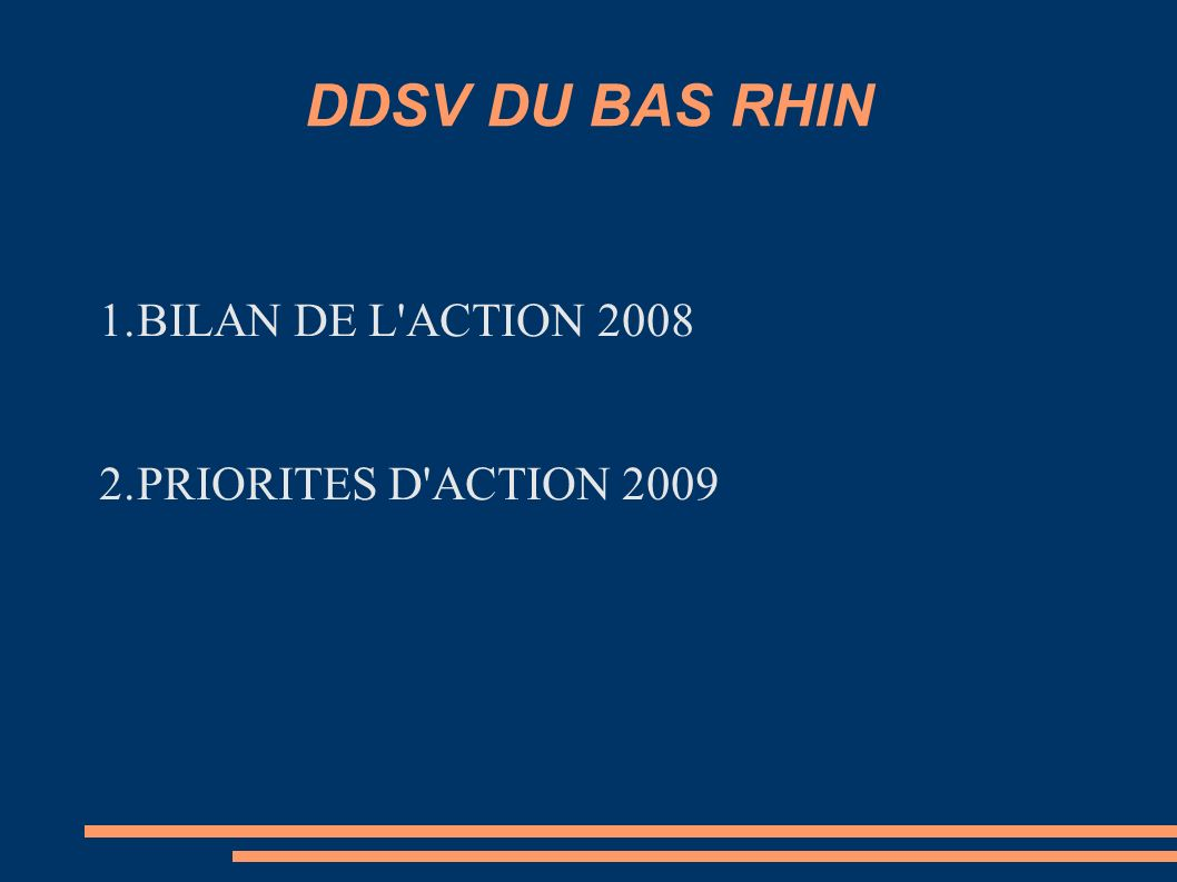 DDSV DU BAS RHIN BILAN DE L ACTION 2008 PRIORITES D ACTION 2009