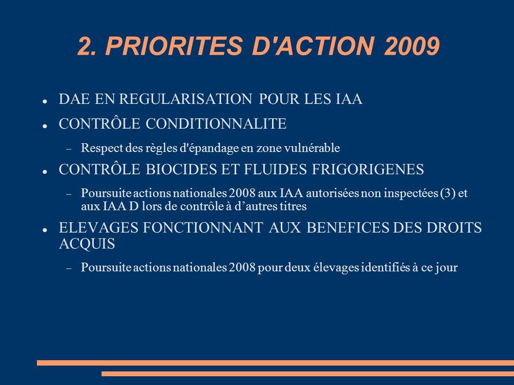 2. PRIORITES D ACTION 2009 DAE EN REGULARISATION POUR LES IAA