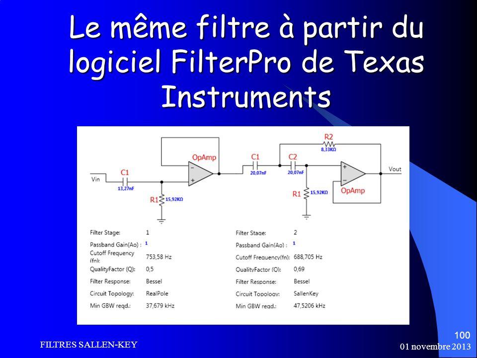 Le même filtre à partir du logiciel FilterPro de Texas Instruments