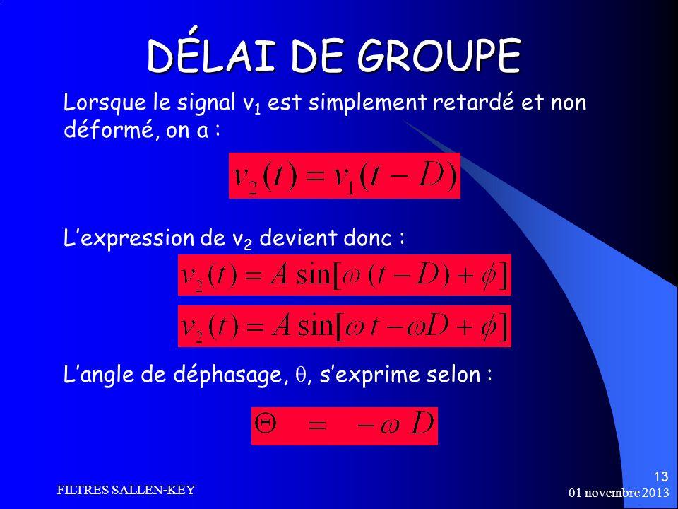 DÉLAI DE GROUPE Lorsque le signal v1 est simplement retardé et non déformé, on a : L'expression de v2 devient donc :