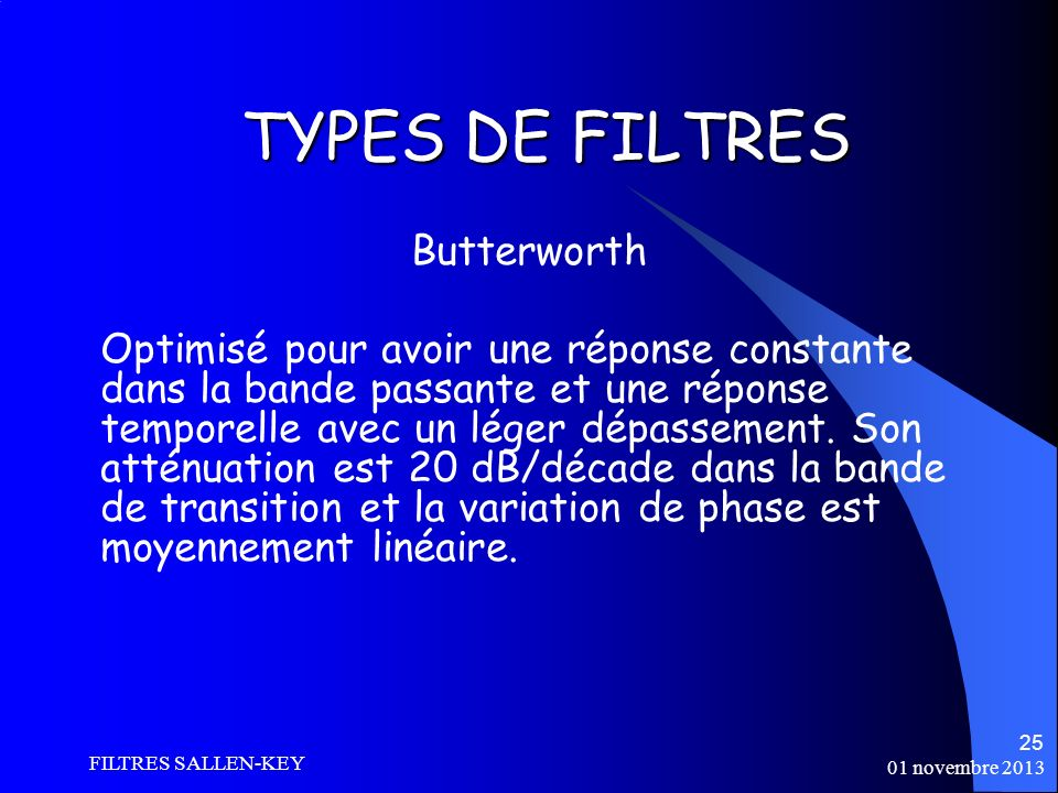 TYPES DE FILTRES Butterworth
