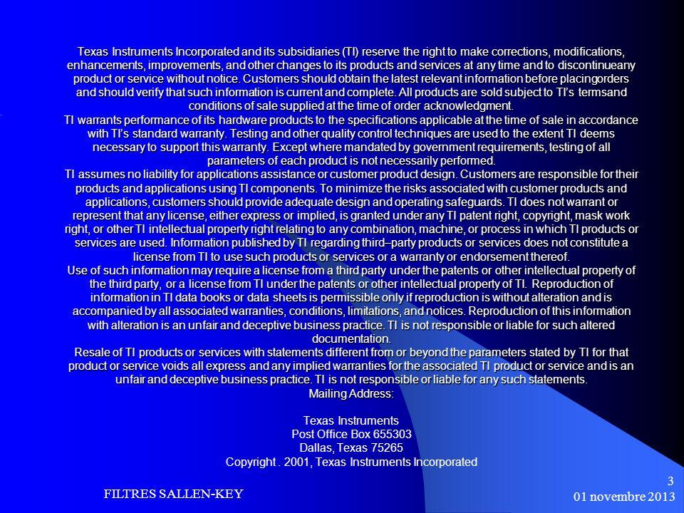 FILTRES SALLEN-KEY 01 novembre 2013