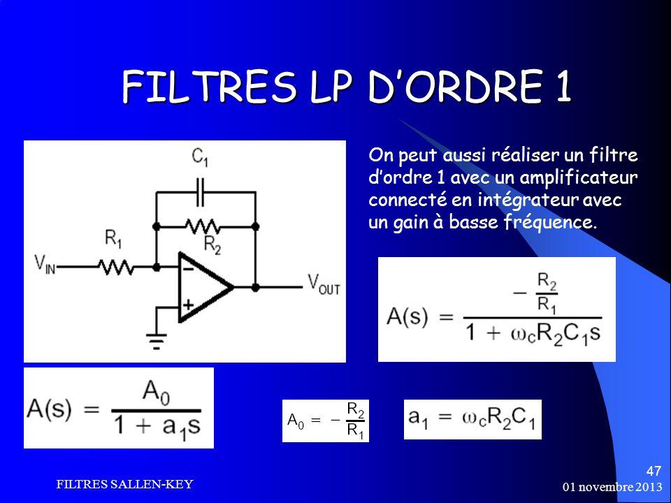 FILTRES LP D'ORDRE 1 On peut aussi réaliser un filtre d'ordre 1 avec un amplificateur connecté en intégrateur avec un gain à basse fréquence.