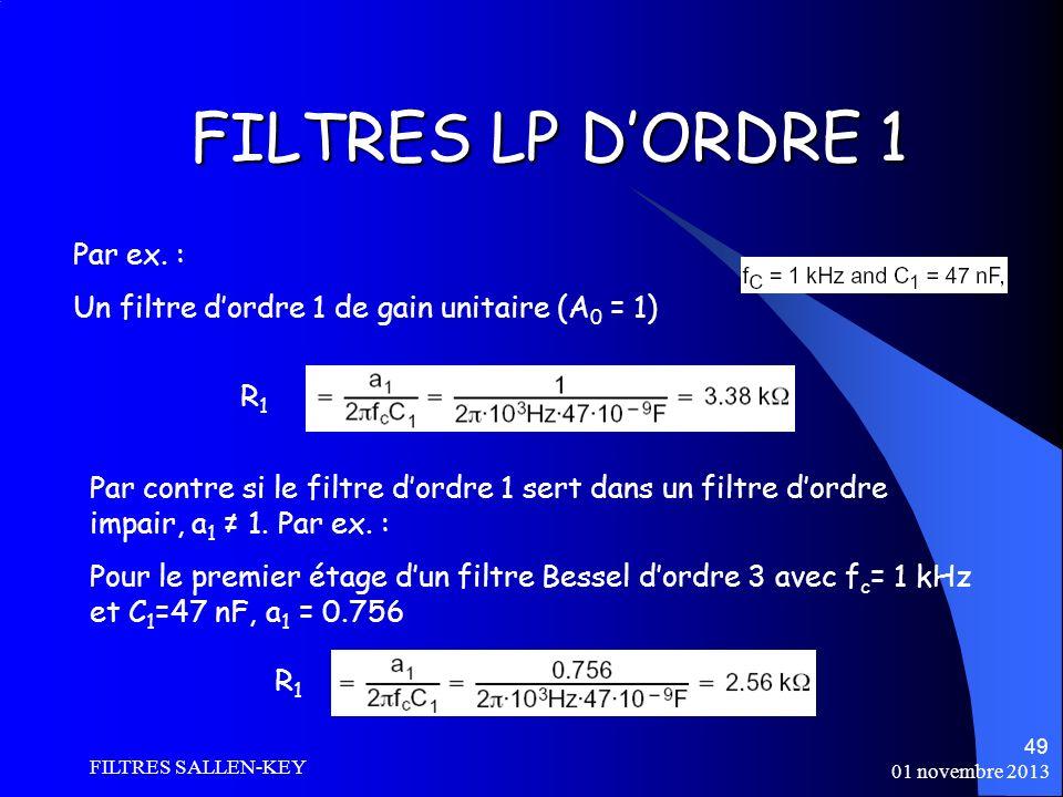 FILTRES LP D'ORDRE 1 Par ex. :
