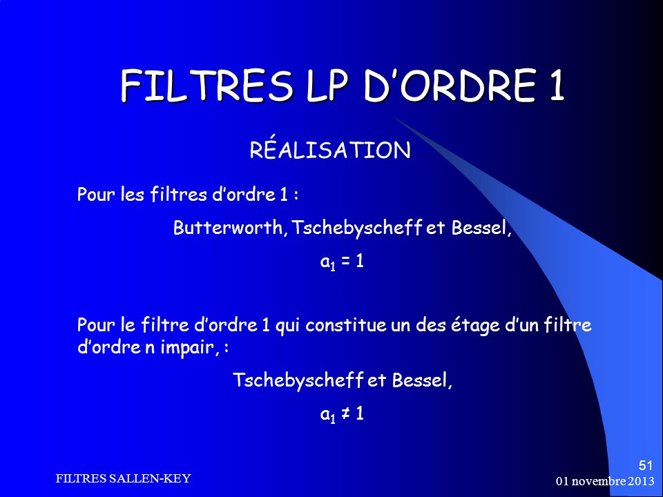 FILTRES LP D'ORDRE 1 RÉALISATION Pour les filtres d'ordre 1 :
