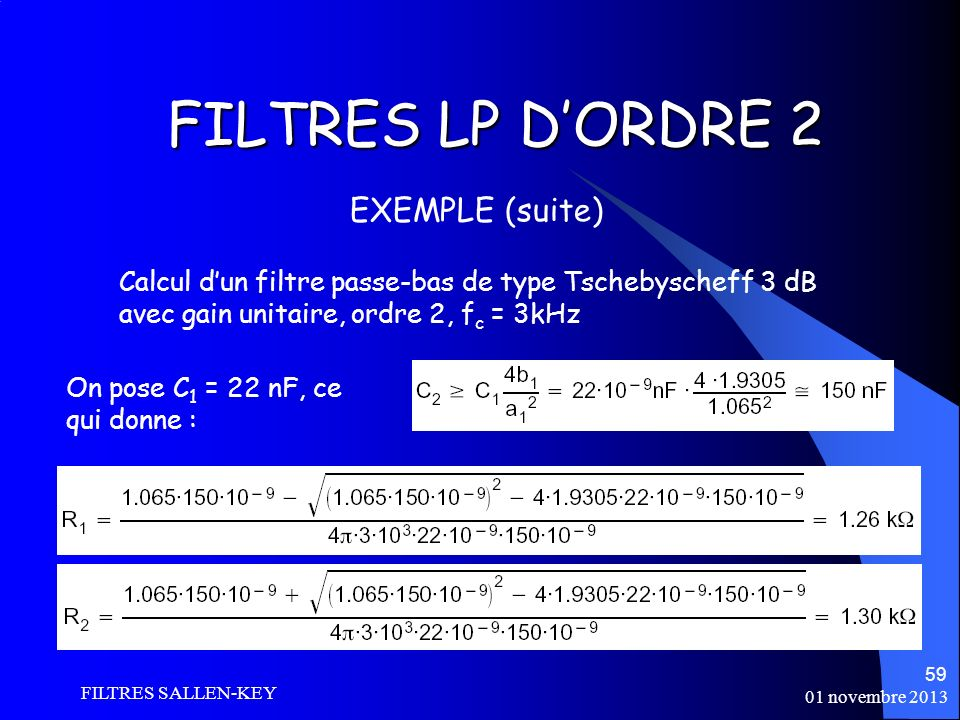 FILTRES LP D'ORDRE 2 EXEMPLE (suite)