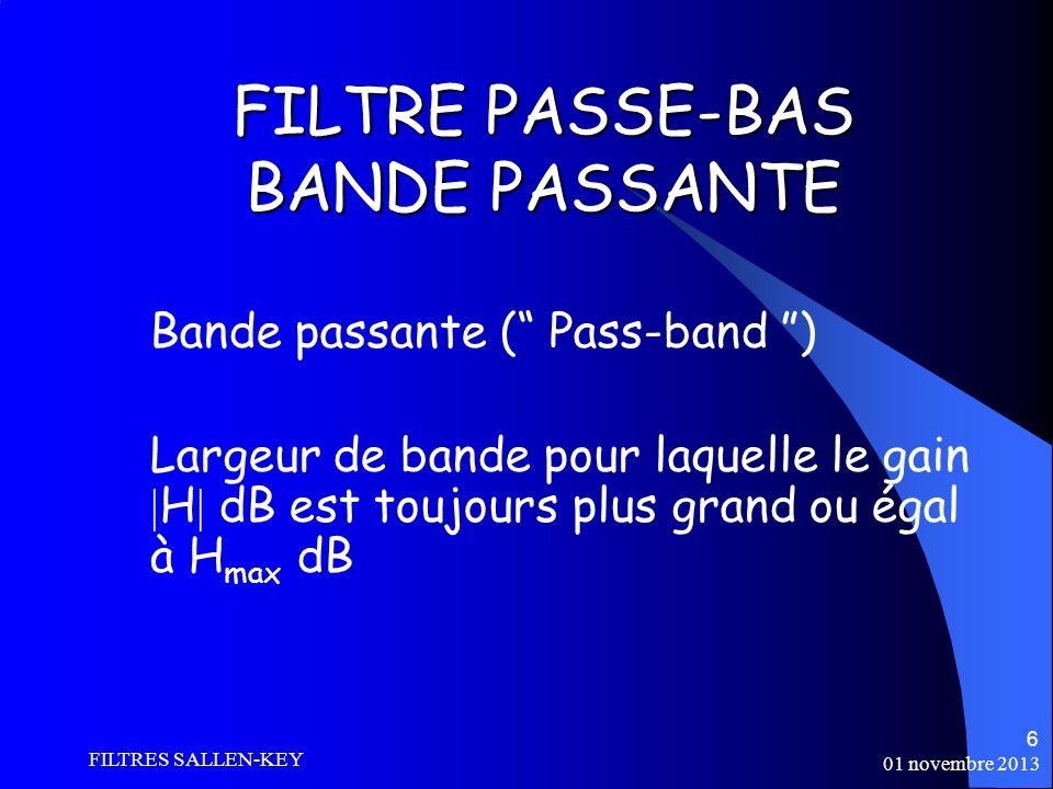 FILTRE PASSE-BAS BANDE PASSANTE