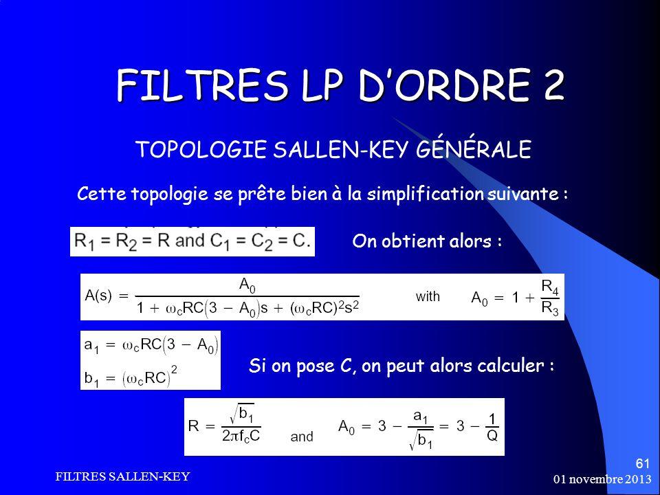 FILTRES LP D'ORDRE 2 TOPOLOGIE SALLEN-KEY GÉNÉRALE