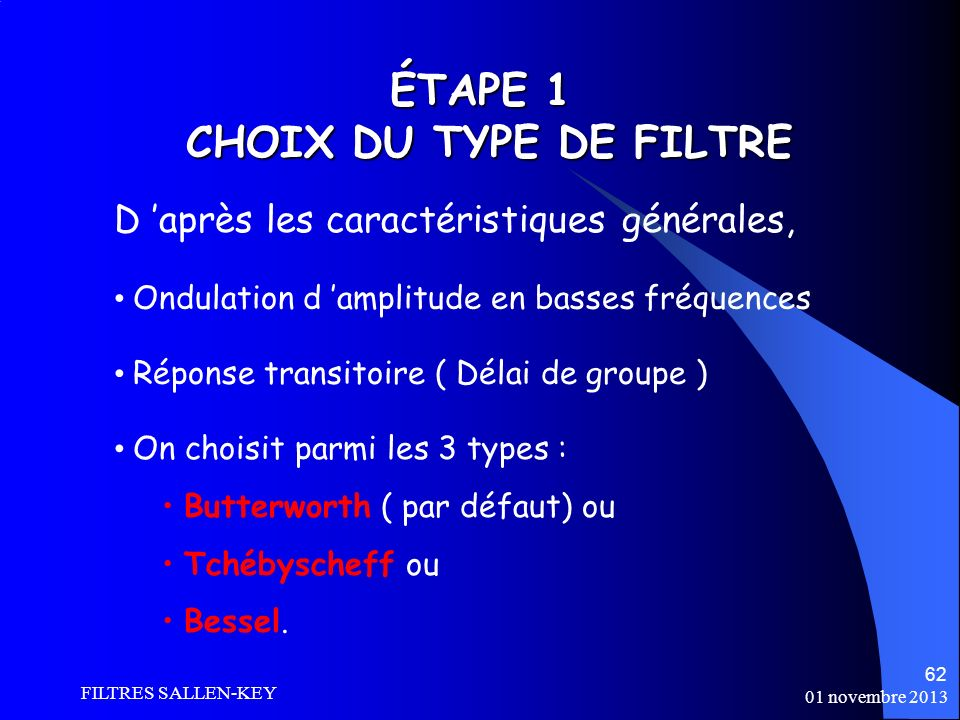 ÉTAPE 1 CHOIX DU TYPE DE FILTRE