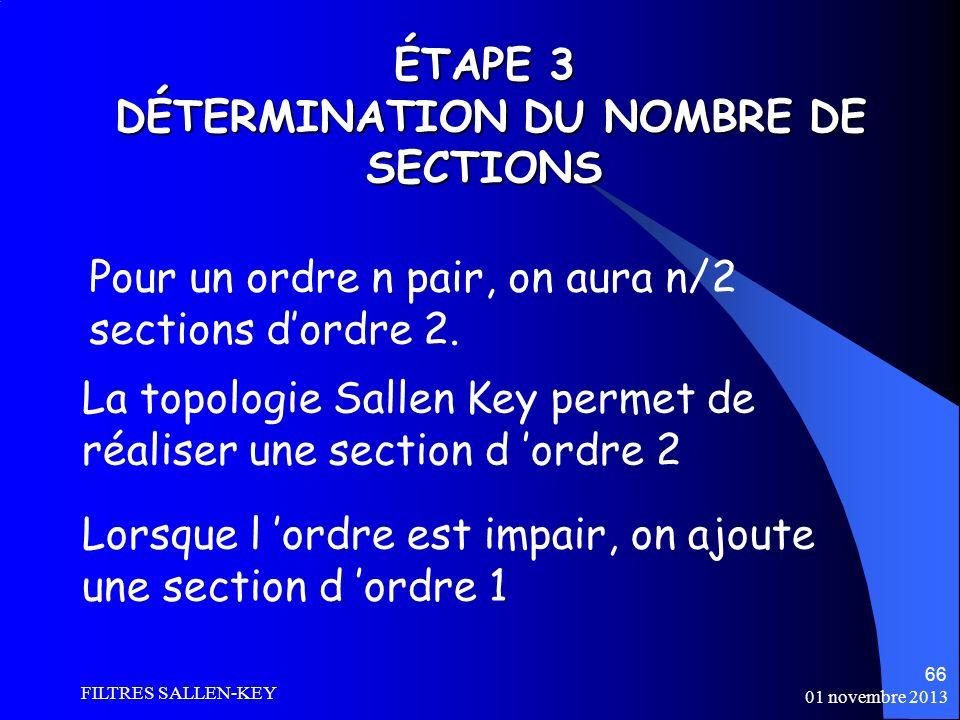ÉTAPE 3 DÉTERMINATION DU NOMBRE DE SECTIONS