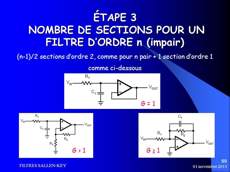 ÉTAPE 3 NOMBRE DE SECTIONS POUR UN FILTRE D'ORDRE n (impair)