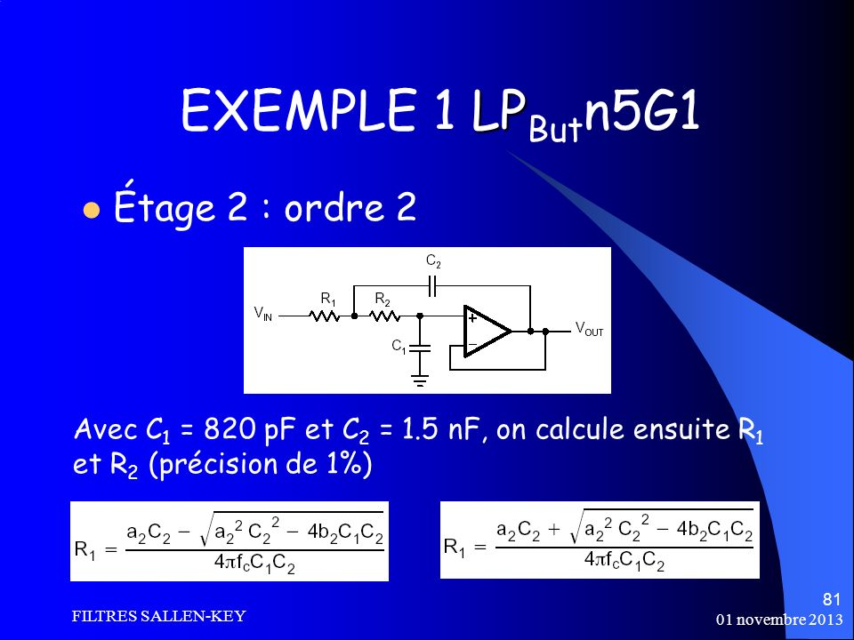 EXEMPLE 1 LPButn5G1 Étage 2 : ordre 2