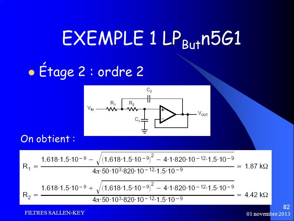 EXEMPLE 1 LPButn5G1 Étage 2 : ordre 2 On obtient : FILTRES SALLEN-KEY