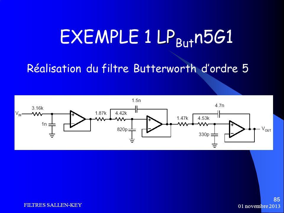 EXEMPLE 1 LPButn5G1 Réalisation du filtre Butterworth d'ordre 5
