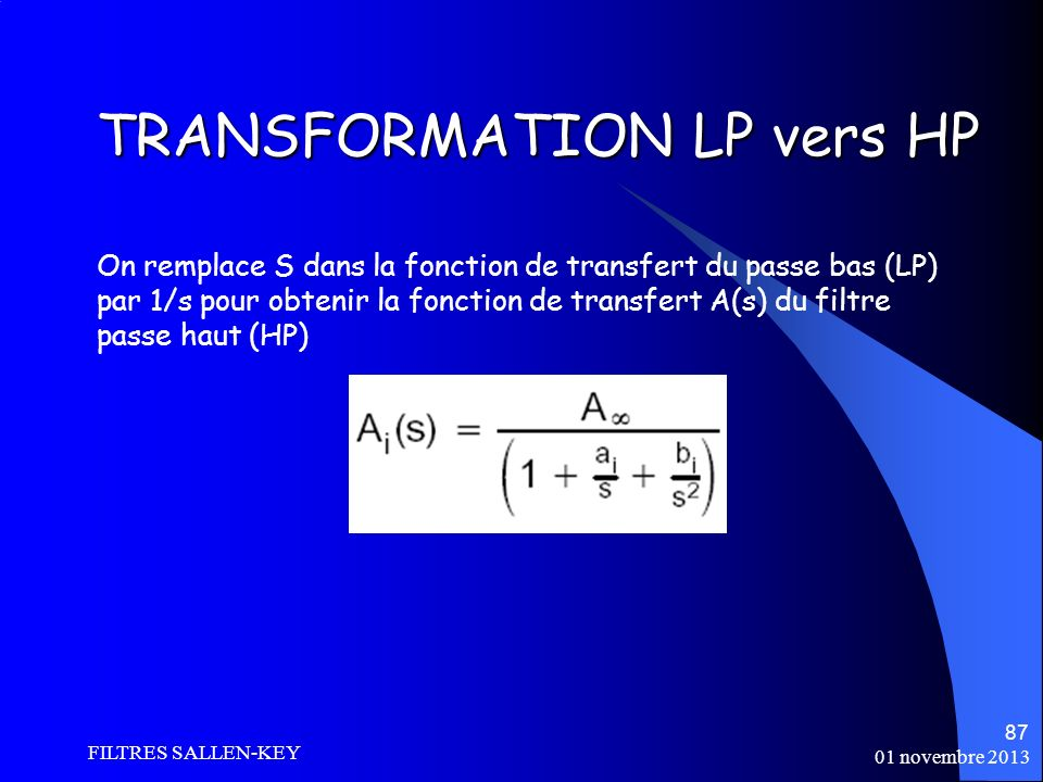 TRANSFORMATION LP vers HP