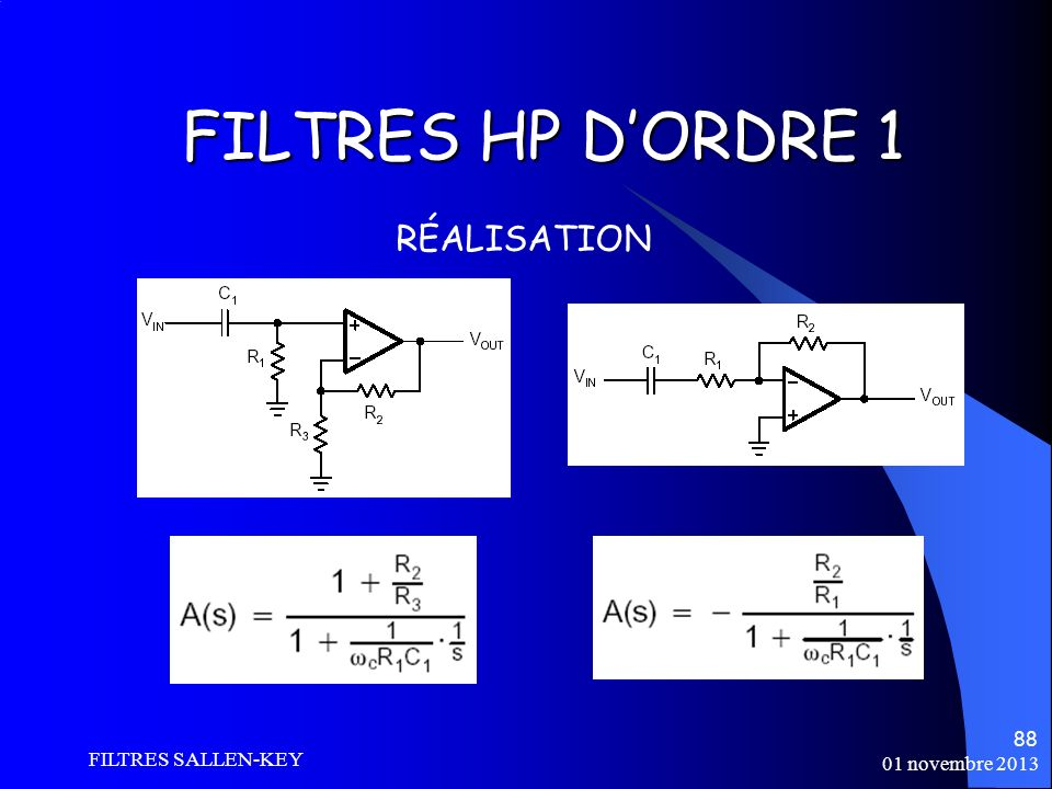 FILTRES HP D'ORDRE 1 RÉALISATION FILTRES SALLEN-KEY 01 novembre 2013
