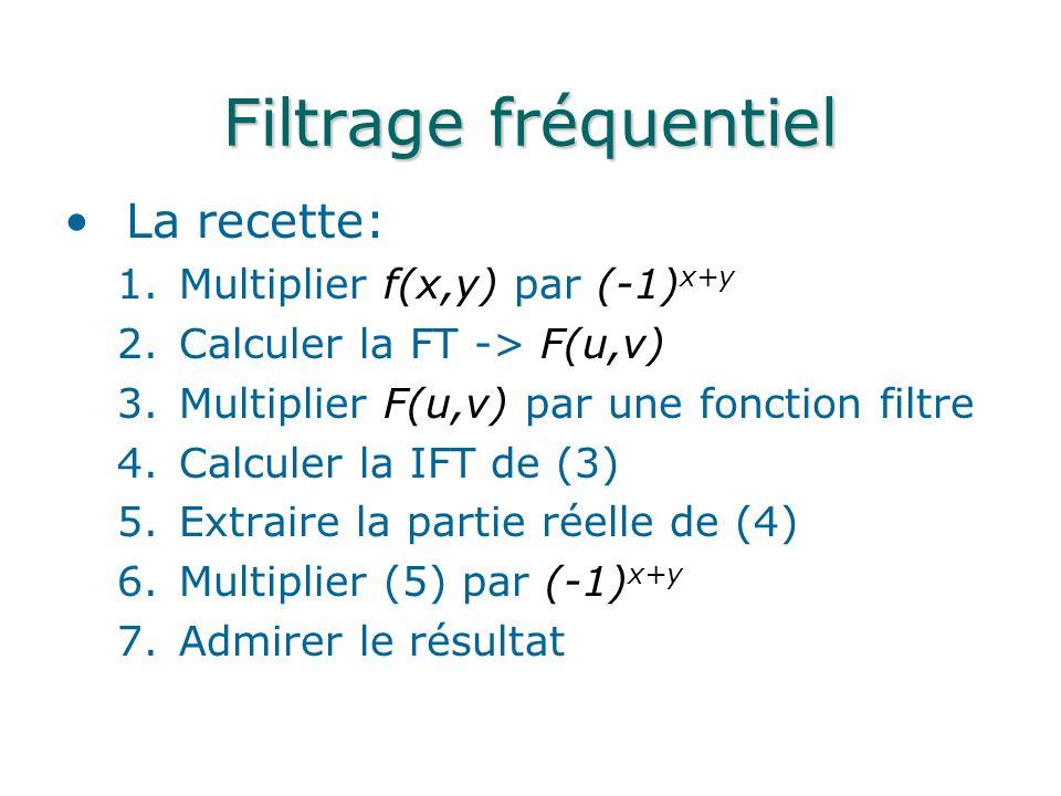 Filtrage fréquentiel La recette: Multiplier f(x,y) par (-1)x+y