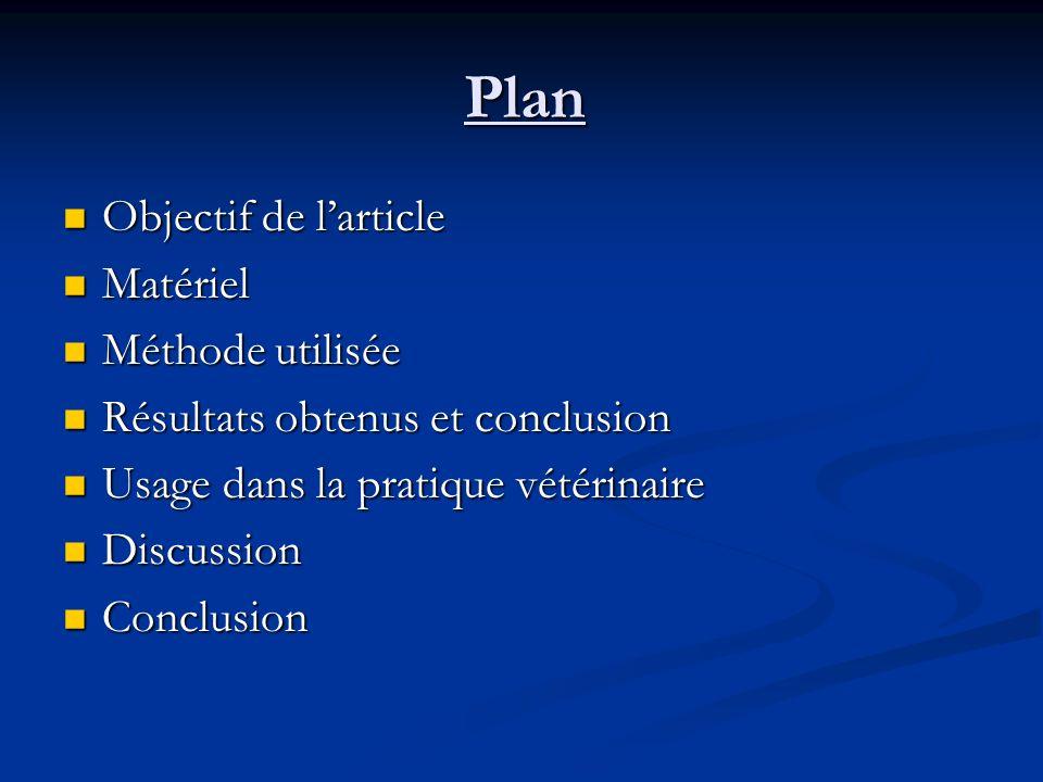 Plan Objectif de l'article Matériel Méthode utilisée