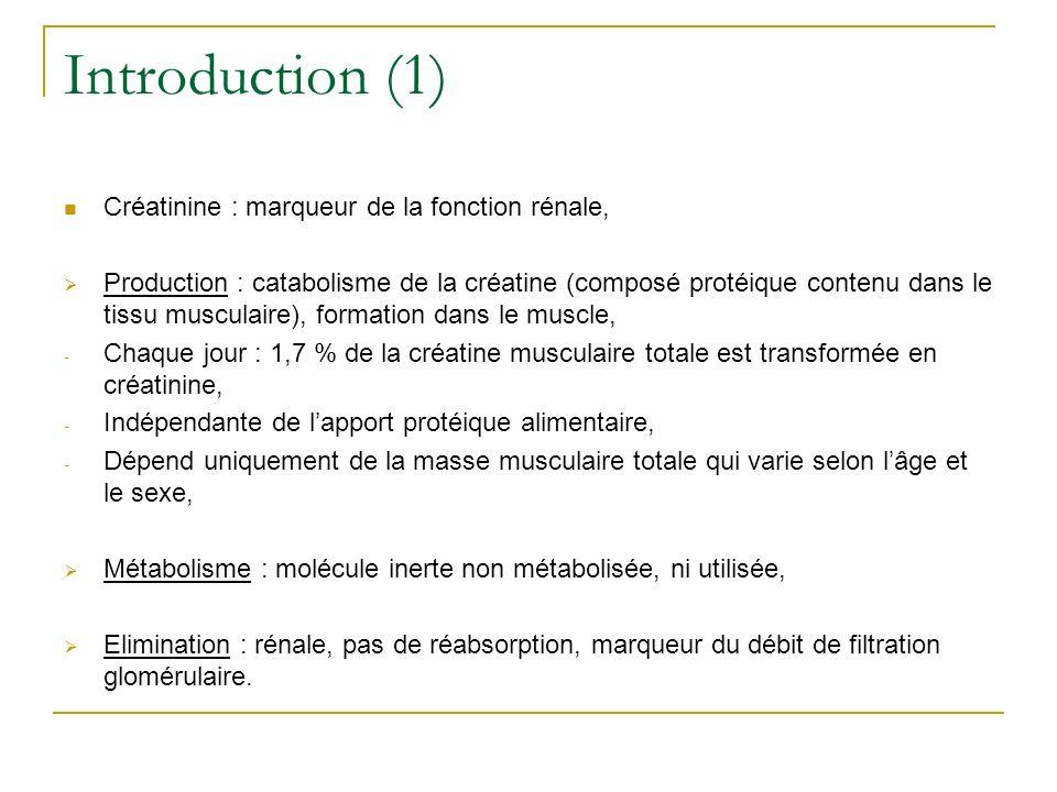 Introduction (1) Créatinine : marqueur de la fonction rénale,