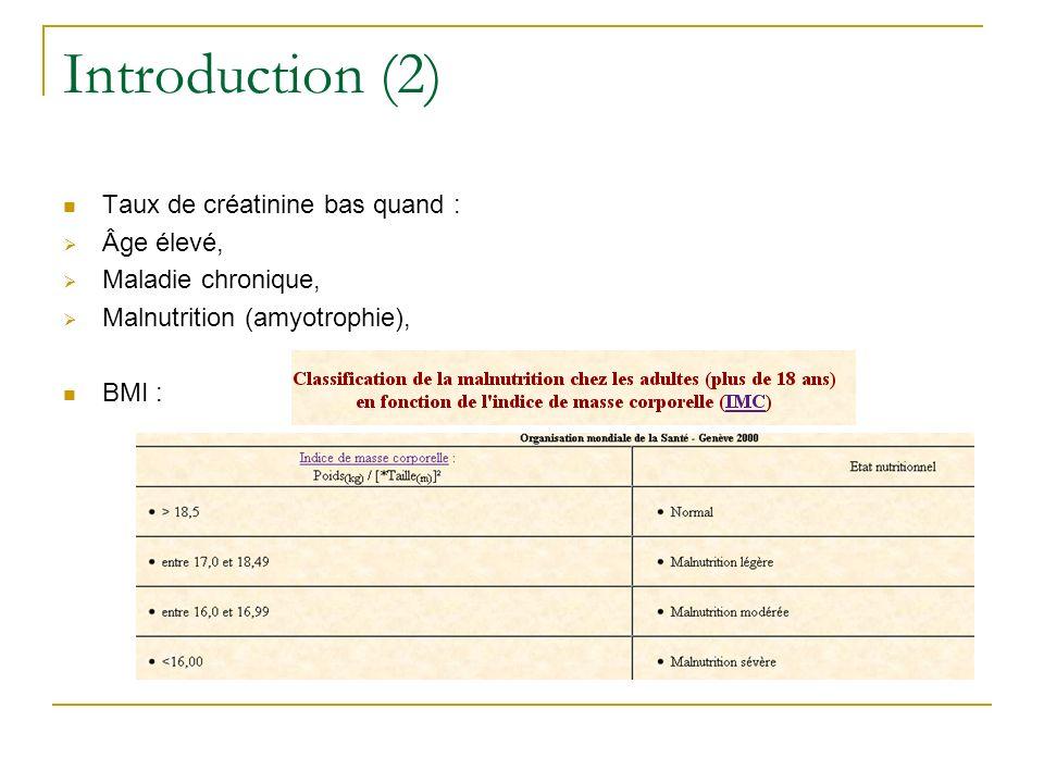 Introduction (2) Taux de créatinine bas quand : Âge élevé,