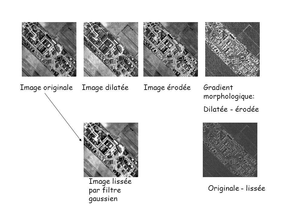 Image originale Image dilatée. Image érodée. Gradient morphologique: Dilatée - érodée. Image lissée par filtre gaussien.