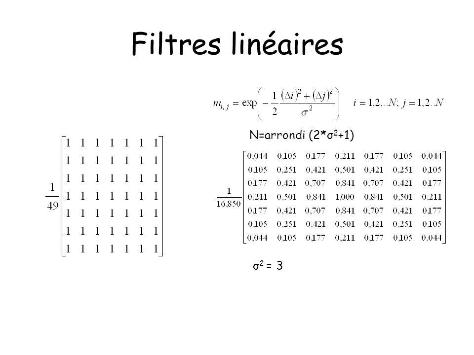Filtres linéaires N=arrondi (2*σ2+1) σ2 = 3