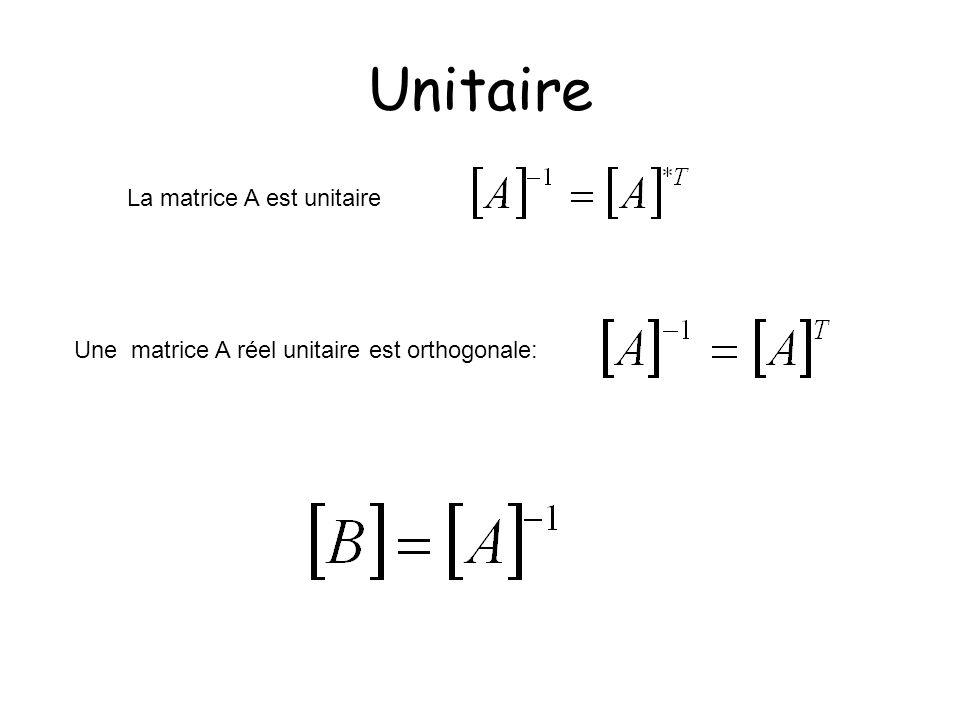 Unitaire La matrice A est unitaire