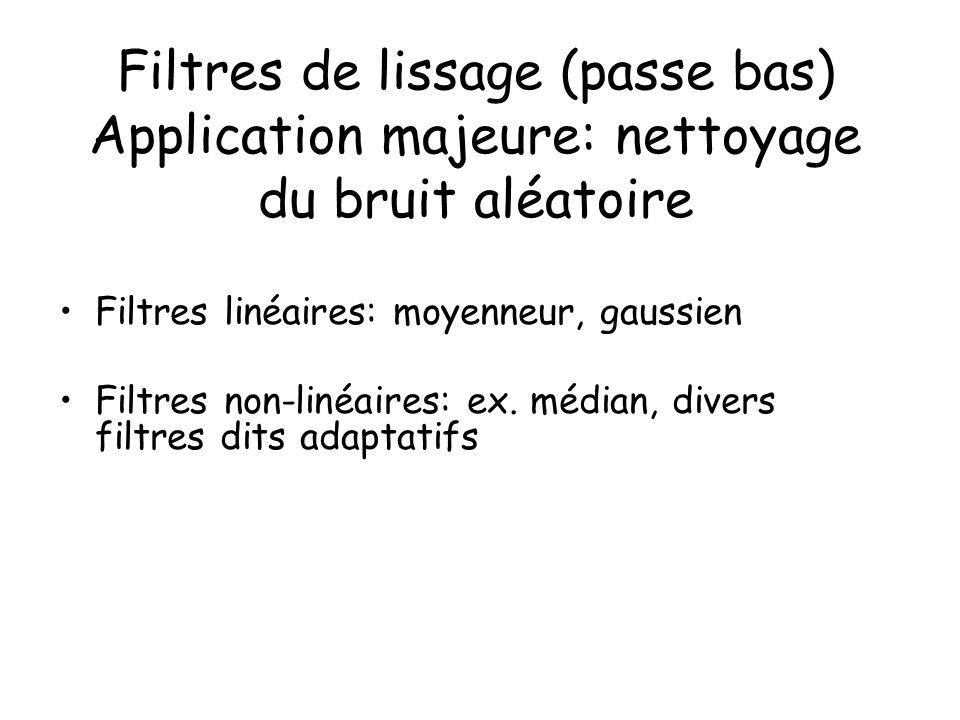 Filtres de lissage (passe bas) Application majeure: nettoyage du bruit aléatoire