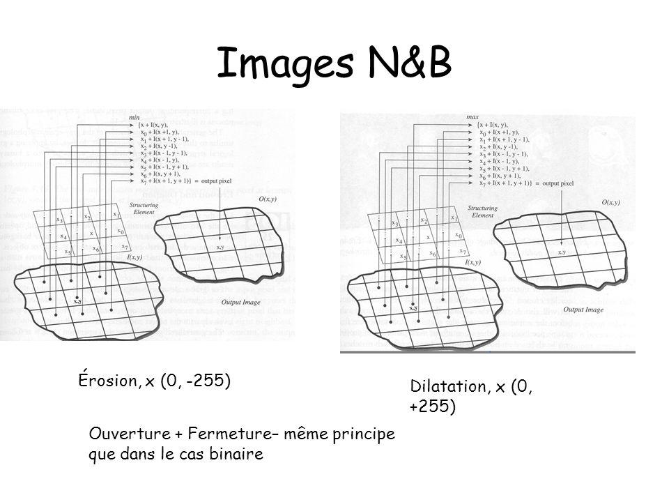 Images N&B Érosion, x (0, -255) Dilatation, x (0, +255)