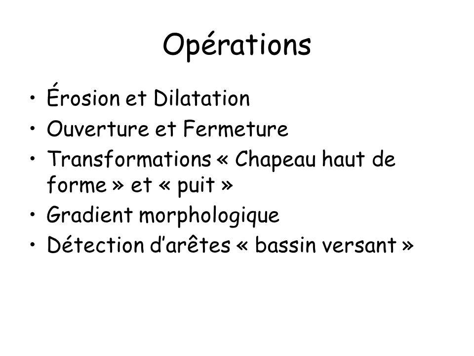 Opérations Érosion et Dilatation Ouverture et Fermeture