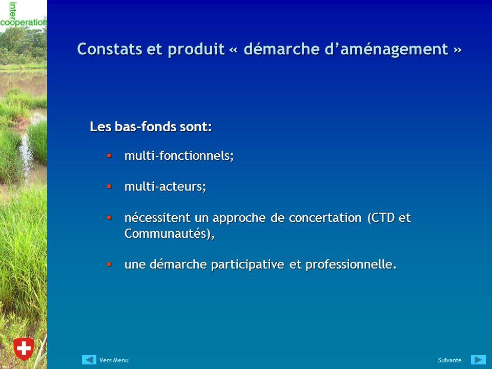 Constats et produit « démarche d'aménagement »