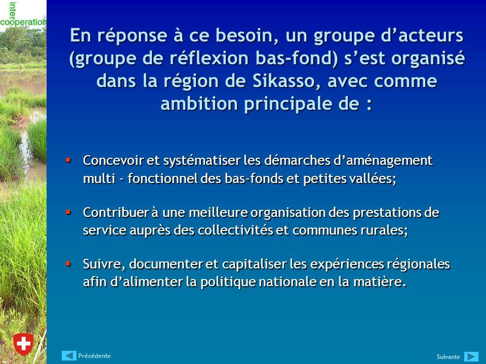 En réponse à ce besoin, un groupe d'acteurs (groupe de réflexion bas-fond) s'est organisé dans la région de Sikasso, avec comme ambition principale de :
