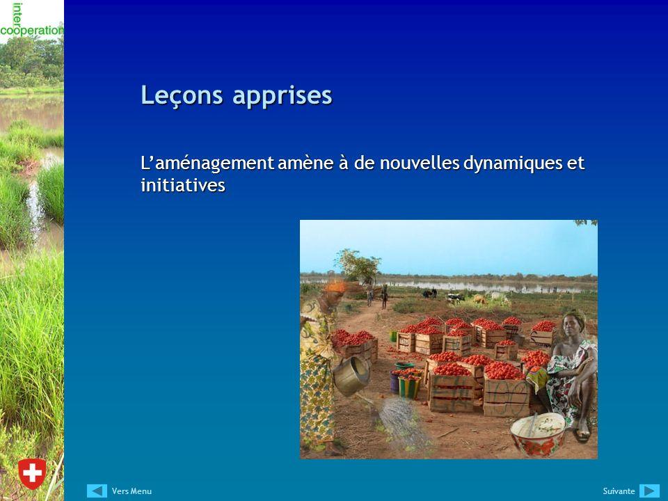Leçons apprises L'aménagement amène à de nouvelles dynamiques et initiatives Vers Menu Suivante