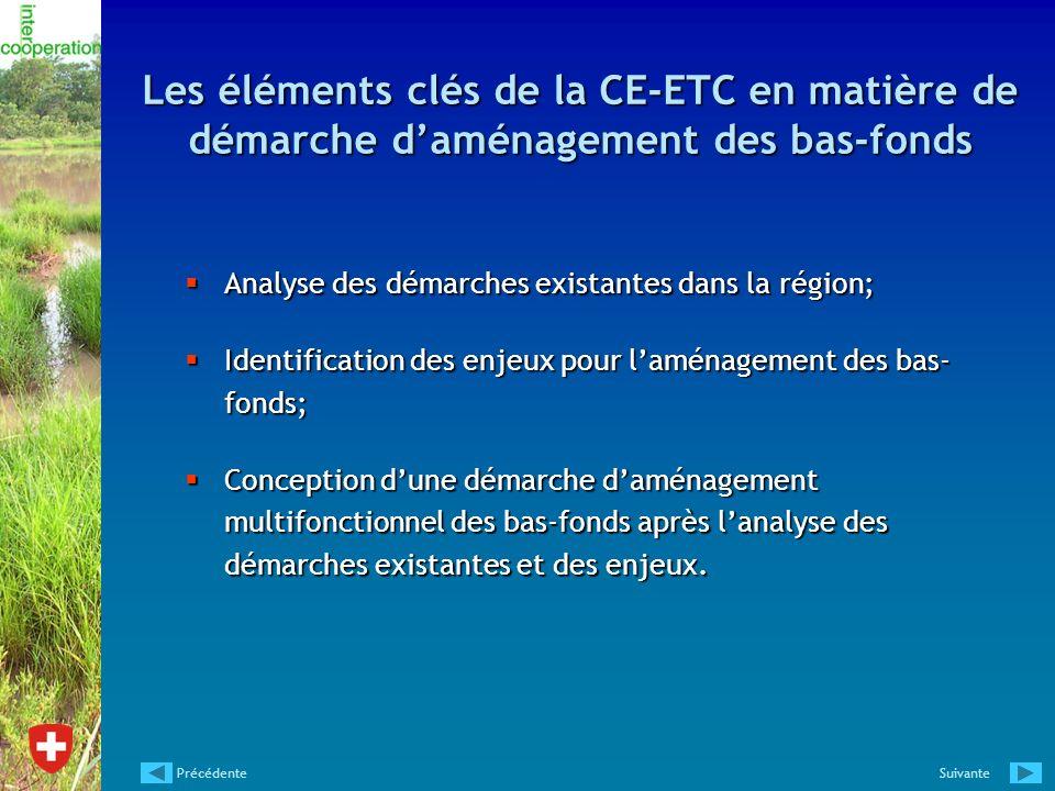 Les éléments clés de la CE-ETC en matière de démarche d'aménagement des bas-fonds