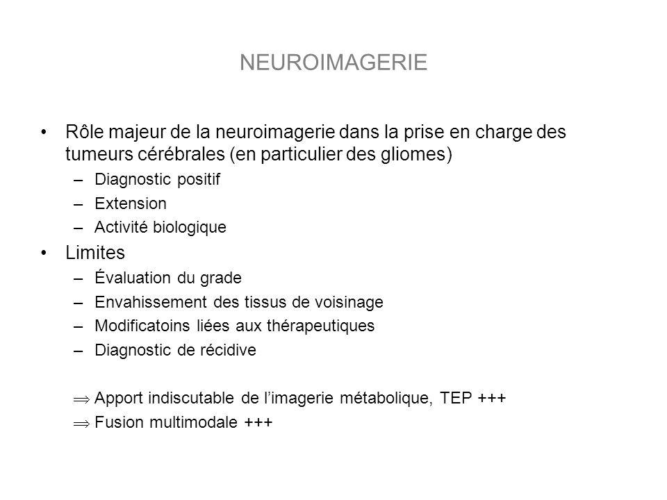 NEUROIMAGERIE Rôle majeur de la neuroimagerie dans la prise en charge des tumeurs cérébrales (en particulier des gliomes)