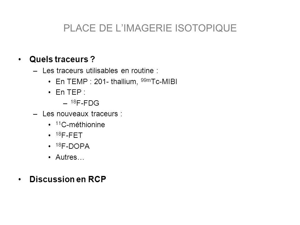 PLACE DE L'IMAGERIE ISOTOPIQUE