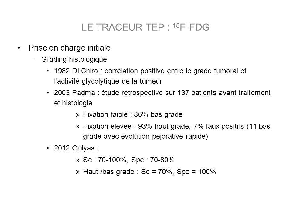 LE TRACEUR TEP : 18F-FDG Prise en charge initiale Grading histologique
