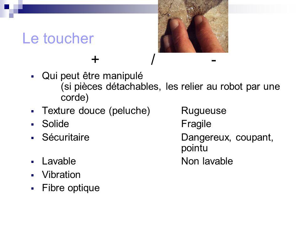 Le toucher + / - Qui peut être manipulé (si pièces détachables, les relier au robot par une corde)